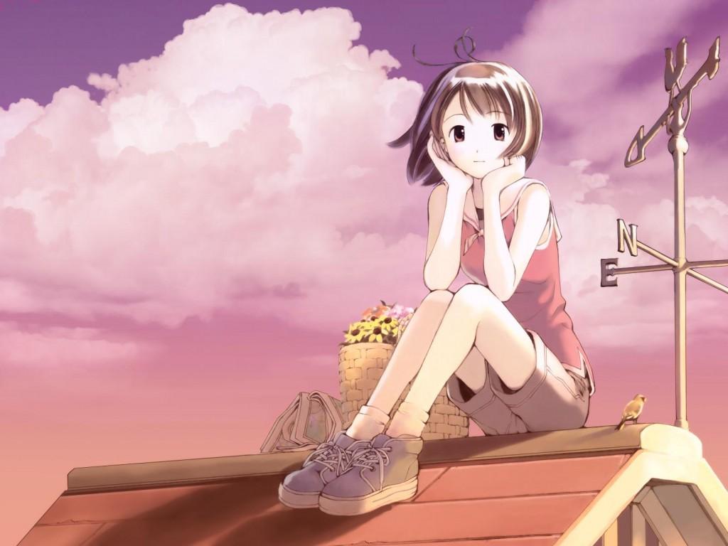 2015 - Cartoon girl sitting alone ...