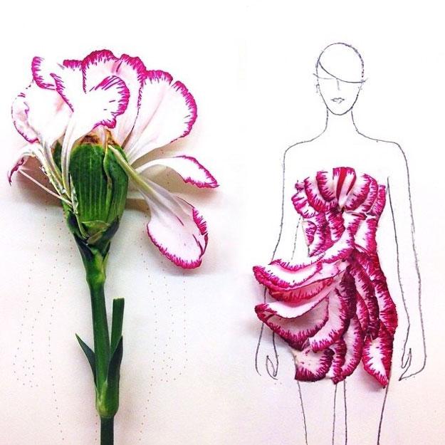بالصور فتاة من سنغافورة تصمم أروع الفساتين باستخدام أوراق وبتلات الزهور