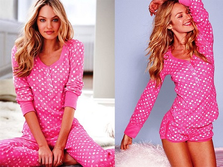 بيجامات ماركة فيكتوريا سيكريت 2014 , ملابس نوم باللون الوردي للبنات 2015