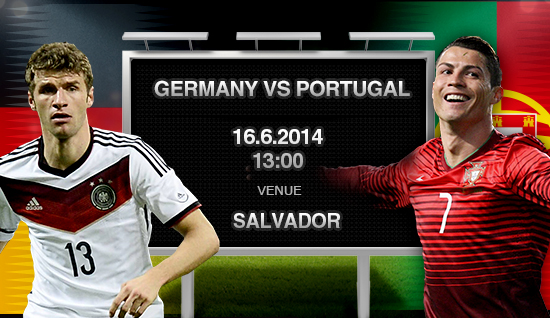 Portugal VS Germany Monday 16-6-2014 World Cup , Time and channels broadcast