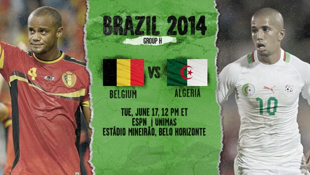 Algeria VS Belgium Tuesday 17-6-2014 World Cup , Time and channels broadcast