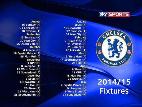 جدول مباريات الدوري الانجليزي 2015 , مواعيد مباريات الدوري الانجليزي 2015
