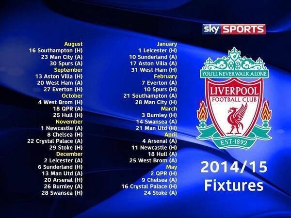 جدول مباريات ليفربول في الدوري الانجليزي موسم 2015