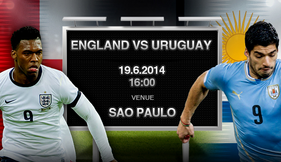 Uruguay VS England Thursday 19-6-2014 World Cup , Time and channels broadcast