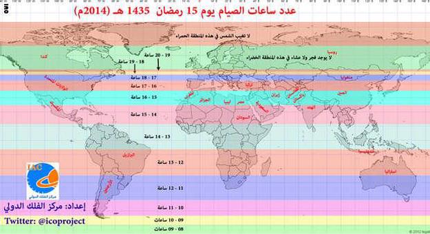 بالصور عدد ساعات الصيام في شهر رمضان 2014 في جميع الدول