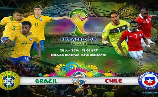 مجانا القنوات الناقلة لمباراة البرازيل وتشيلي اليوم السبت 28-6-2014