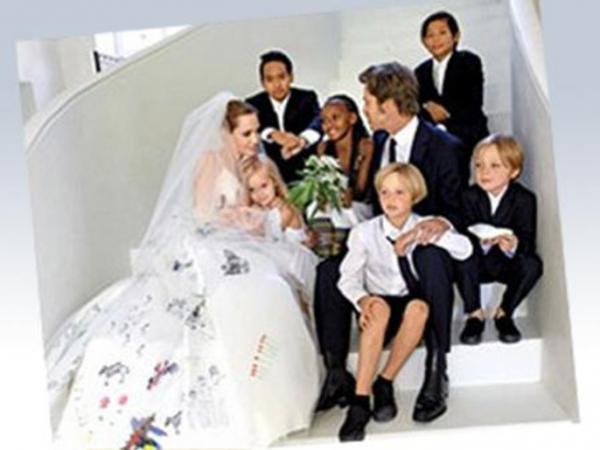 صور فستان زفاف أنجلينا جولي 2014 , صور أنجلينا جولي بفستان الزفاف 2014 , صور حفل زواج أنجلينا جولي 2014