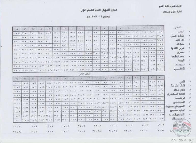 جدول مباريات الإسبوع الأول من الدوري المصري الممتاز لموسم 2014/2015