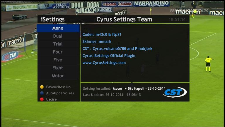 ����� ���� Plugin Cyrus iSettings 1.0.0
