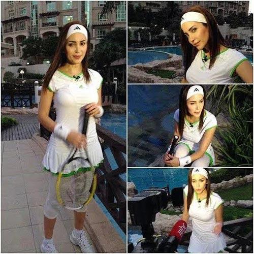 صور نسرين طافش وهي تلعب تنس 2015 , صور نسرين طافش في برنامج صدى الملاعب 2014