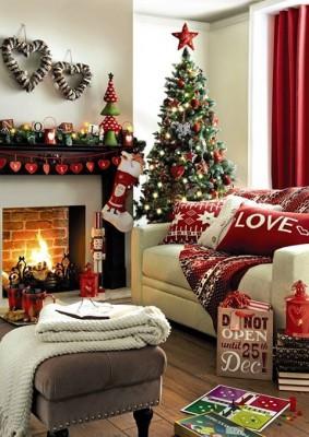 ديكورات غرفة المعيشة الكريسماس 2015