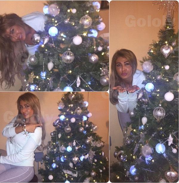 صور هبة نور بجانب شجرة الكريسماس 2015 , صور هبة نور وهي تحتفل بعيد الميلاد 20145