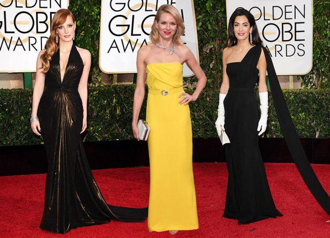 صور فساتين النجمات في حفل Golden Globes 2015