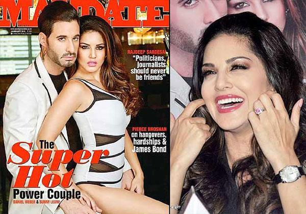 صور ساني ليون وزوجها على غلاف مجلة Mandate يناير 2015