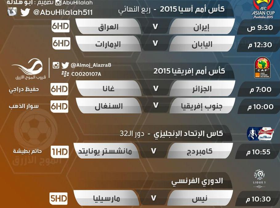 مواعيد وجدول مباريات اليوم الجمعة 23-1-2015