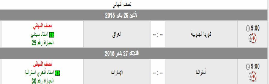 مواعيد وجدول مباريات نصف نهائي كأس أسيا 2015