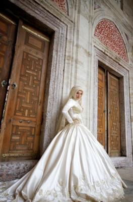 صور فساتين عرايس للمحجبات ربيع 2015 , أحلى فساتين زفاف للمحجبات 2015