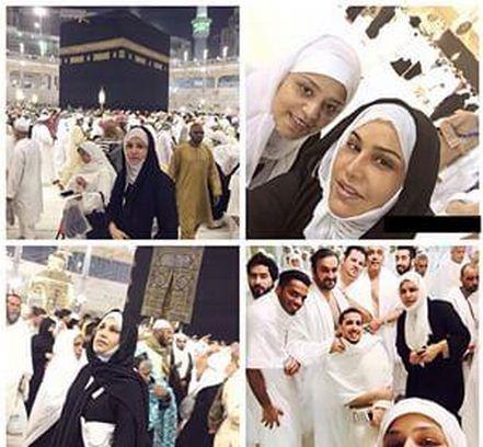 صور الفنانات والنجمات بالحجاب وبدون ميك اب في الحرم المكي 2015