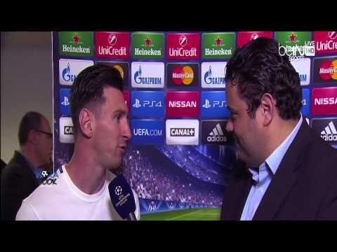 بالفيديو لقاء ميسي بعد انتهاء مباراة برشلونة وبايرن ميونخ اليوم 6-5-2015