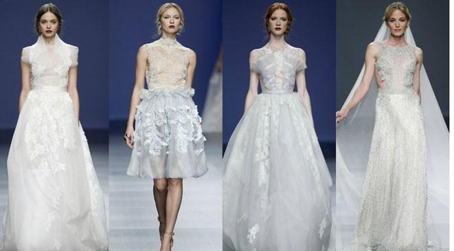 بالصور أجمل فساتين أسبوع برشلونة للعروس 2015