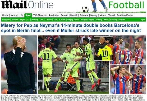بالصور عناوين الصحف العالمية بعد مباراة برشلونة وبايرن ميونخ اليوم 12-5-2015