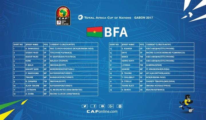 رسميا تشكيلة منتخب بوركينا فاسو