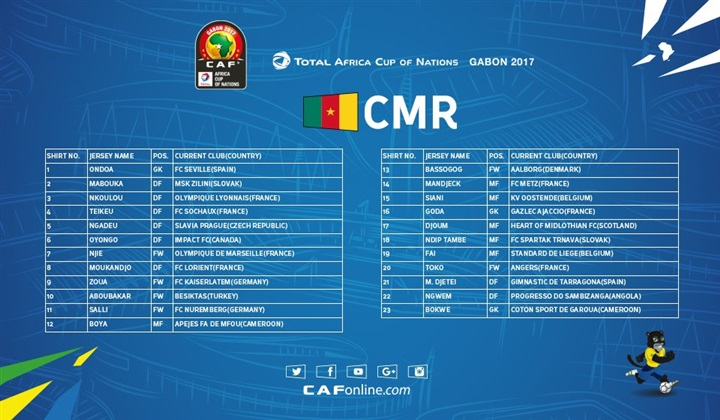 رسميا تشكيلة منتخب الكاميرون أفريقيا