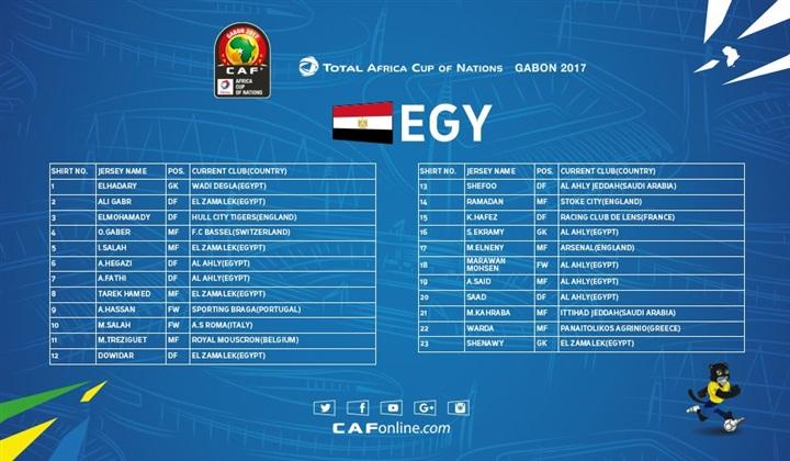 رسميا تشكيلة منتخب أفريقيا 2017