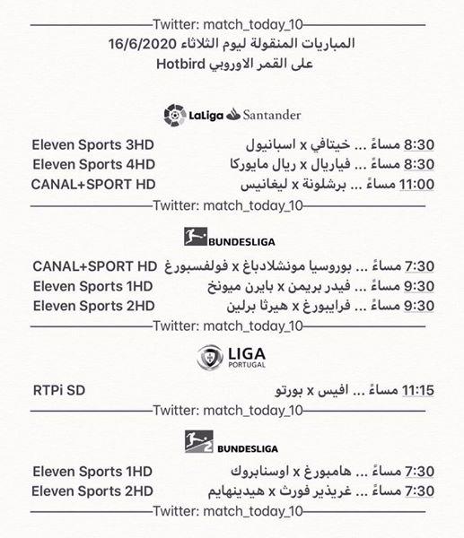 جدول المباريات المنقولة على الهوت بيرد اليوم الثلاثاء 16-6-2020