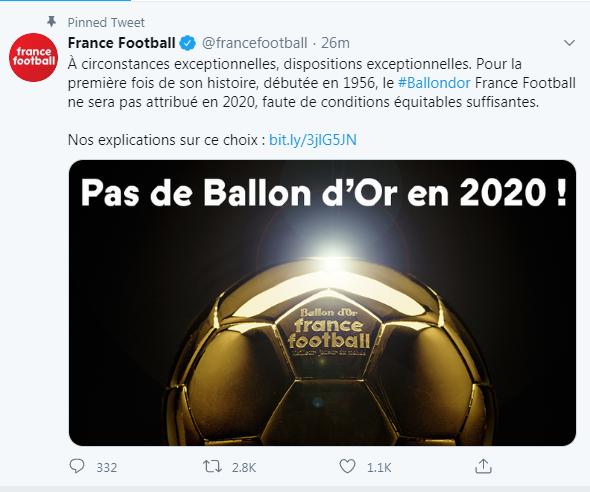 أسباب وتفاصيل الغاء حفل الكرة الذهبية في 2020 بالون دور