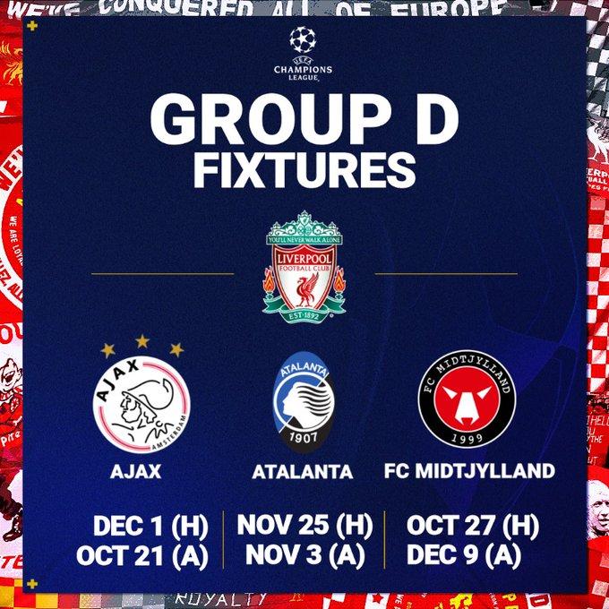 مواعيد وجدول مباريات ليفربول في دوري ابطال اوروبا 2020/2021