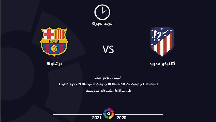موعد وتوقيت مشاهدة مباراة برشلونة وأتلتيكو مدريد اليوم 21-11-2020