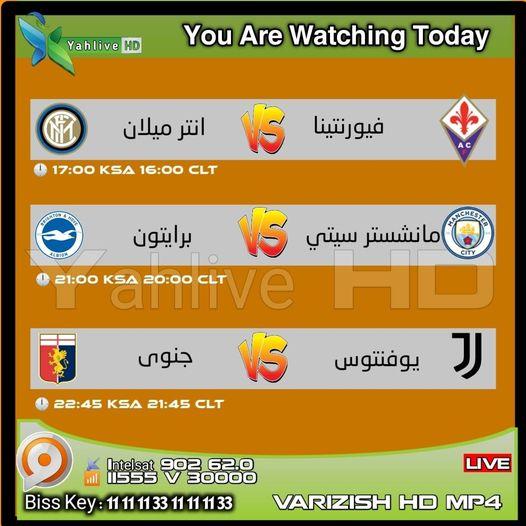 جدول مباريات قناة VARIZISH HD على Intelsat اليوم الاربعاء 13-1-2021