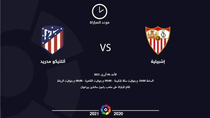 موعد مباراة أتلتيكو مدريد وإشبيلية