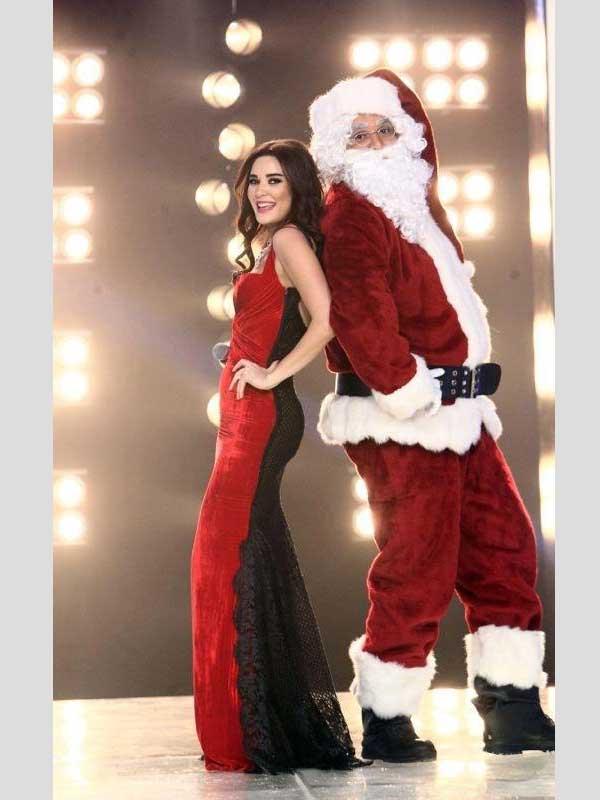 صور سيرين عبد النور مع بابا نويل 2013، اجمل صور مثيرة سيرين عبد النور بفستان احمر 2013
