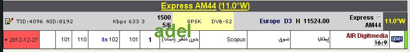 جديد القمر Express-AM44 @ 11° West - قناة ABC TV - قناة AIR Digitmedia - قناة RTR Pianeta