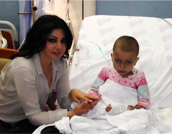 صور هيفاء وهبي تحقق حلم فتاه مصابة بالسرطان 2013